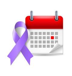 Violet awareness ribbon and calendar vector