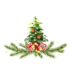 watercolor green spruce arrangement with a vector image