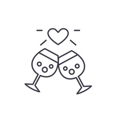 wedding anniversary line icon concept wedding vector image