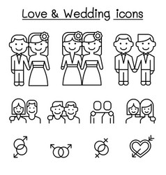 wedding loving icon set in thin line style vector image