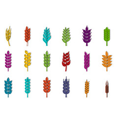 wheat icon set color outline style vector image