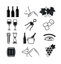 Wine black icons set vector image
