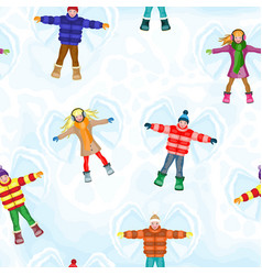 Winter seamless pattern with snow angel people vector