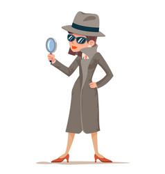 Woman snoop detective tec search evidence pursuit vector