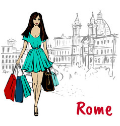woman walking in rome vector image
