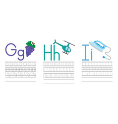 Writing practice letters ghi education for kids vector