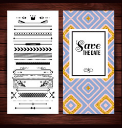 yellow and purple square shaped save the date vector image