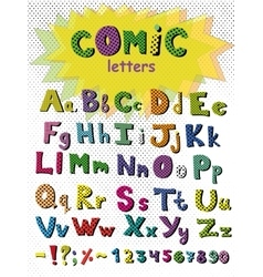 Alphabet in comic style colorful letters vector image