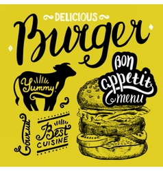 Burger food element for restaurant and cafe vector image