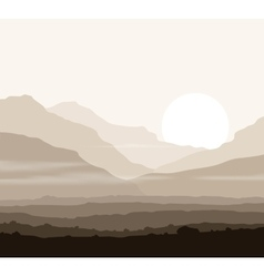 Lifeless landscape with huge mountains over sun vector image vector image