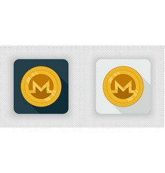 light and dark crypto currency icon monero vector image