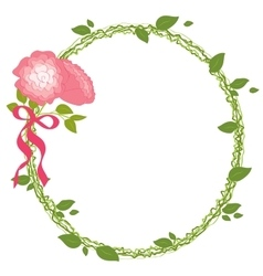 Rose Frame Ribbon Card Wedding Romantic Nature vector image