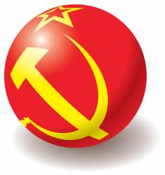 ussr flag texture on ball vector image
