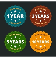 Warranty labels - for 1 2 5 and 10 years in flat vector image vector image
