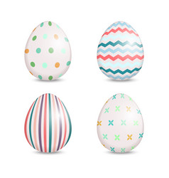 beautiful set of easter eggs with cute patterns vector image