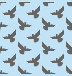 Black dove seamless pattern pigeons flying vector