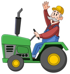 farmer driving tractor vector image vector image