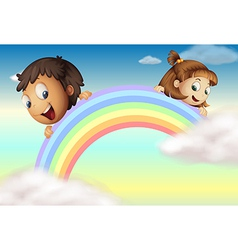 Holding the rainbow vector image vector image