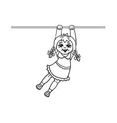 little girl hanging on a horizontal bar vector image