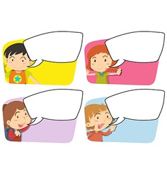 Speech bubble templates with girl and boy vector image