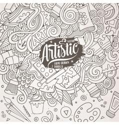 Cartoon cute Art doodles hand drawn frame vector image