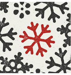 Christmas Background with red grungy snowflake vector image vector image