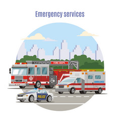 colorful emergency city transport concept vector image