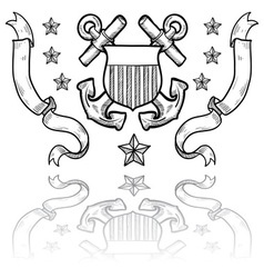 doodle us military insignia coastguard vector image vector image