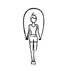 figure woman jumping to do exercise vector image vector image