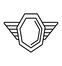 hexagon shield protection badge winged outline vector image