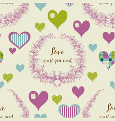 love seamless pattern decorative hearts vector image vector image