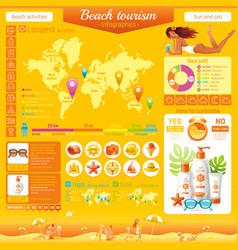 summer beach travel icon set infographics diagram vector image vector image