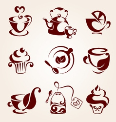 Tea elements set vector image