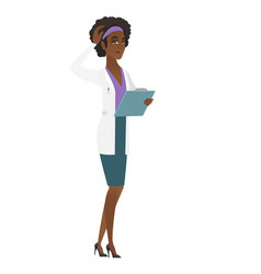 young african-american doctor scratching her head vector image vector image