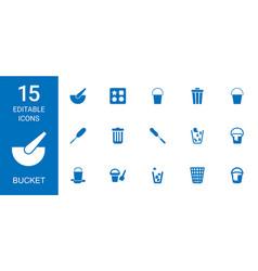 15 bucket icons vector
