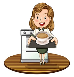 A woman holding a tray with a hot drink vector image