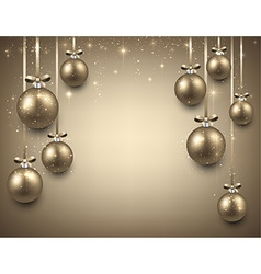 Background with golden christmas balls vector