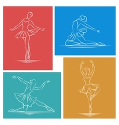 Ballerina hand drawn set vector