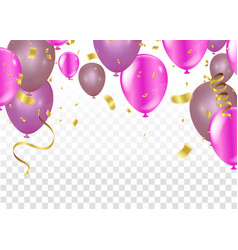 balloons confetti and ribbons celebration vector image