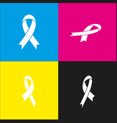 black awareness ribbon sign white icon vector image