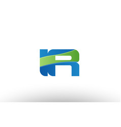 Blue green ir i r alphabet letter logo vector