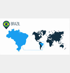 Brazil map located on a world map with flag and vector
