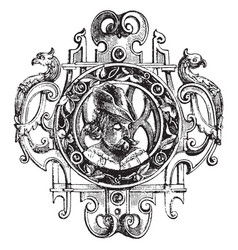 Brooch renaissance style vintage engraving vector