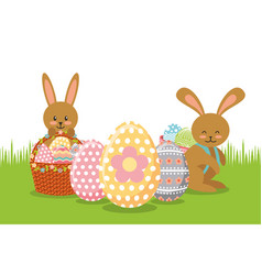 Brown rabbits with baskets and eggs decoration on vector