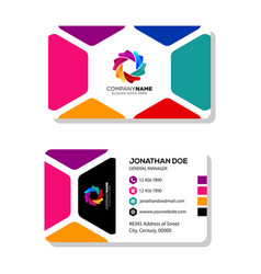 business card template design with colorful camer vector image