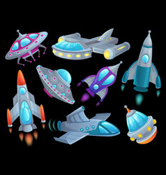 cartoon spaceship futuristic space rocket vector image