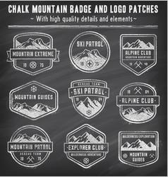 chalkboard mountain insignias vector image