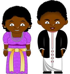 Cheerful african couple from uganda vector