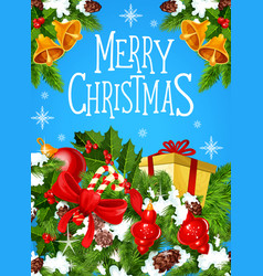 christmas gift greeting card for new year design vector image