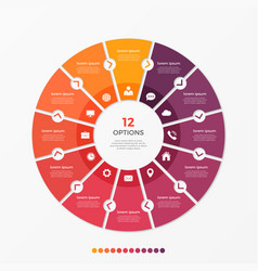 Circle chart infographic template with 12 options vector